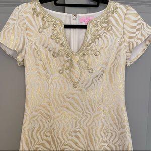 Lily Pulitzer Milannia Gold Zebra Shift Dress